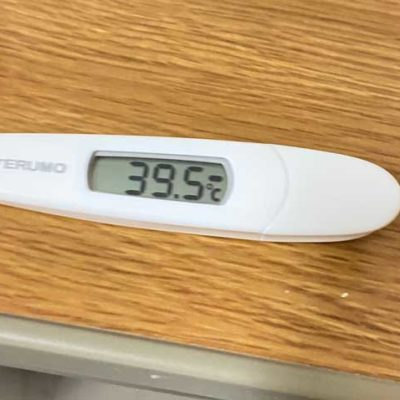 39.5度と表示された体温計
