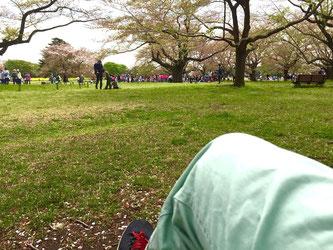 公園のベンチで休む